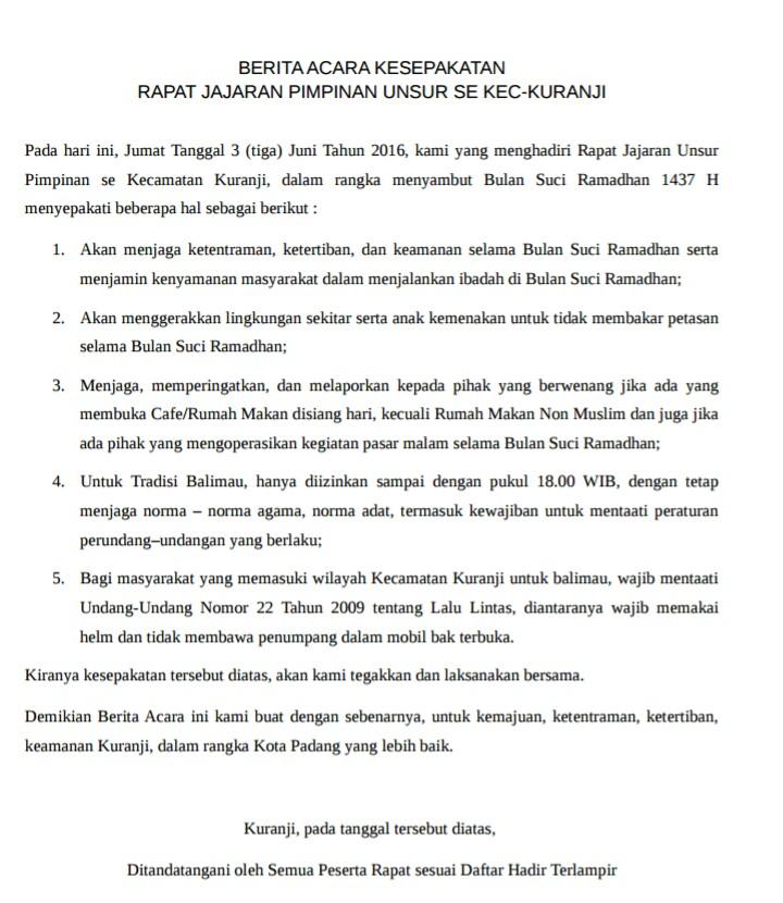 """""""Sambut Bulan Suci Ramadhan, Kuranji Tanda Tangani Kesepakatan"""""""