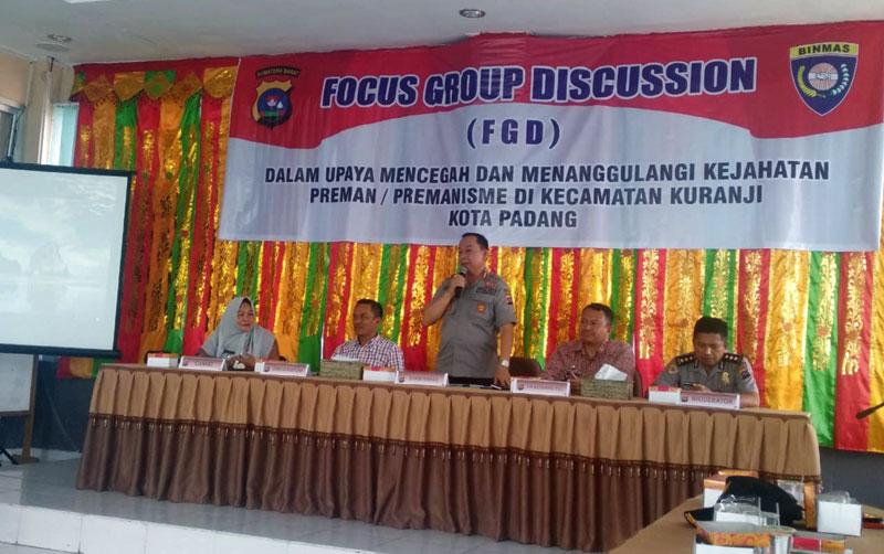 Polda Sumbar Gelar FGD Upaya Mencegah dan Menanggulangi Kejahatan Preman di Kuranji